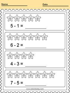 Printable Counting Worksheet for Kindergarten - Math Worksheet for Kids  #KindergartenMathWorksheets Kindergarten Subtraction Worksheet for Kids #worksheets #printableworksheets #kids #education #kindergarten #worksheetsforkindergarten #freeprintableworksheets Pattern Worksheets For Kindergarten, Subtraction Kindergarten, Subtraction Worksheets, Free Kindergarten Worksheets, Free Printable Worksheets, Worksheets For Kids, Classroom Tools, Rotc, Kids Education