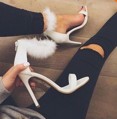 Real Photo Cheap Women Luxury Fur Design High Heel Sandals White Pink Ankle Wrap Fluffy Pumps Party Charming shoes woman Free Sh