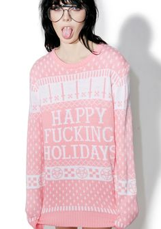 "Current Mood Happy Fucking Holidays Sweater ...yea, yea merry fukkin' Christmas or sum shit. This xXxtra soft long sleeve sweater features a plush knit construction, comfy relaxed fit that proudly proclaims, ""happy fucking holidays"" with a festive AF print of pentagrams, inverted crosses 'n snowflakes. Just gimmie the $$$ and STFU!"