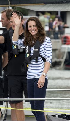 Catherine, Duchess of Cambridge, aka Kate Middleton, in the Auckland Harbour where she raced Prince William in Emirates Team New Zealand Americas Cup yachts; she won both races! She is wearing Zara jeans, a Breton top by ME+EM, and here Sebago Balas loafers. 4/11/14