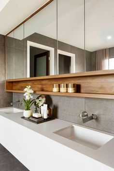 17 Small Toilet Concepts & Design your Inspiration [TREND for bathroom vanity double sinks 17 small bathroom ideas design your inspiration trend 2019 Farmhouse Bathroom Mirrors, Bathroom Mirror Design, Modern Bathroom Design, Contemporary Bathrooms, Bathroom Interior Design, Small Bathroom, Bathroom Ideas, Bathroom Storage, Bath Design