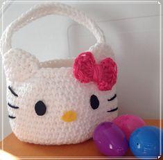 Crochet Hello Kitty Easter Egg Hunt Basket pattern by Florence Yen @ Ravelry