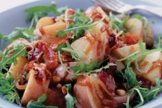 Red rascals potatoes are the perfect potato for potato salad. This recipe incorporates the crunch of pine nuts and grilled prosciutto into the onion dressing. White Balsamic Vinegar, Good Food, Yummy Food, Prosciutto, Seaweed Salad, Tray Bakes, Potato Salad, Cabbage