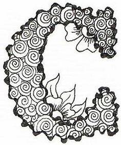Wiggly Alphabet 'C' Tangle Doodle, Tangle Art, Zen Doodle, Doodle Art, Zentangle Drawings, Doodles Zentangles, Zentangle Patterns, Doodle Drawings, Doodle Lettering