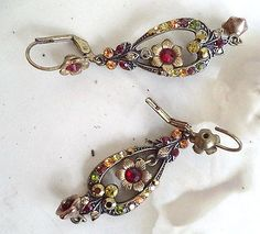 Michal Negrin long Red Gold Swarovski Crystal Victorian Chandelier Earrings vtg