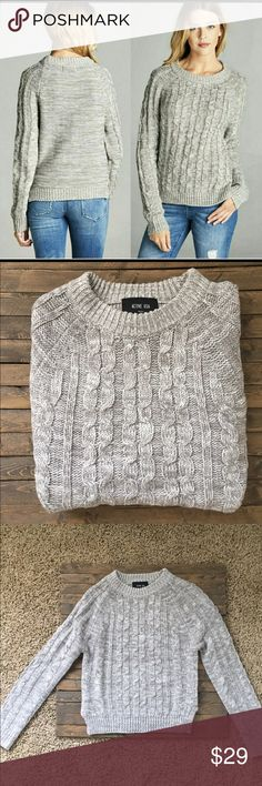 """🍁Crew neck cable knit sweater. Super comfy gray cable knit sweater! Perfect for fall and winter! Pair with jeans or pants. Very versatile. Material is 💯 acrylic. Price is firm unless bundled. Sizes are S, M, L. Small measures 17"""" across and 22"""" in length. Medium measures 18"""" across and 24"""" in length. Large measures 19"""" across and 24"""" in length. Fashionomics Sweaters Crew & Scoop Necks"""