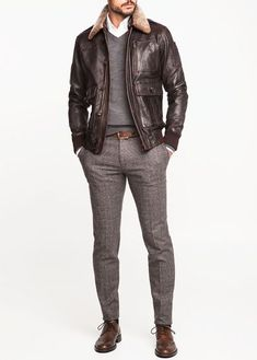 by Mango- Slim fit pants Look Fashion, Mens Fashion, Fashion Outfits, Winter Fashion, Style Masculin, Look Man, Leather Jacket Outfits, La Mode Masculine, Stylish Mens Outfits