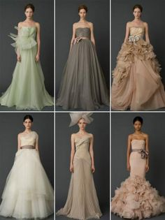 Non-white dresses. Vera Wang's 2012 collections are featuring coloured dresses which is said to be inspired by  fantasy and witchcraft films The Hobbit, Snow White and the Hunstman and Mirror Mirror this year