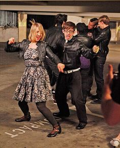 Dianna and Kevin getting down during the Michael Jackson episode.  Cory, Harry, Amber, Chord and Mark bring up the rear.