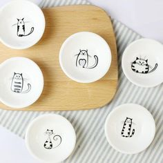 The Meow Meow Porcelain Small Saucer Set for Cat Lovers # . - The Meow Meow porcelain Small saucer set for cat lovers # lovers - Pottery Painting, Ceramic Painting, Ceramic Art, Porcelain Ceramics, Ceramic Pottery, Porcelain Jewelry, Porcelain Doll, Painted Porcelain, Pottery Bowls