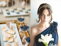 Navy Bridesmaid Dress Modern Blue & Gold Wedding styled by Simply by Tamara Nicole, Yessie Makeup Artistry, Blue Rose Pictures, La Belle Reve (dresses), Lady Yum (dessert table), EM Fine Arts (venue), Juniper Flowers (bouquet), etc