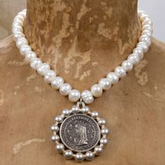 French Kande Must-Have Jewelry | FANtanista Zone Medallion and Pearls Necklace ~ Beautiful!!