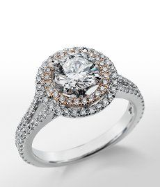 Modernity Collection - Monique Lhuillier Double Halo Engagement Ring in Platinum
