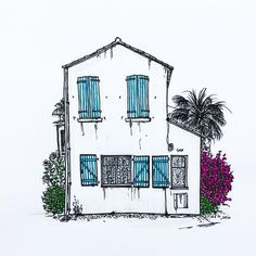 """10 Likes, 1 Comments - W.W. Pierce (@willustrating) on Instagram: """"A house in Six-four-les-Plages.  #sixfourslesplages #france #foliage #frenchriviera #french #tombow…"""""""