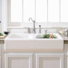 Lyons Industries DKS Deluxe Apron Front Dual Basin Acrylic Kitchen Sink I want a sink like this!