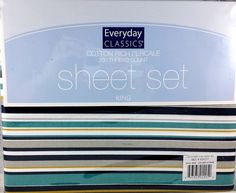 King Sheet Set Navy Teal Gold Nautical Beach Cottage Stripe Pattern 4 pc New #EverydayClassics #Nautical
