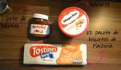 Receita de Torta de Sorvete  1 pote de Nutella pequeno    1/2 pacote de biscoitos de maizena    1 litro de sorvete à sua escolha    1 barra pequena de Chocolate para decorar
