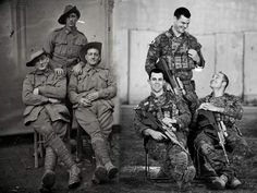 Australian Army Soldiers Then and Now: 1st Div in Vignacourt France WW1 (1916-18) and Task Group Taji 2 in Iraq (2016). [2048x1536]
