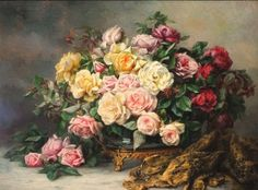 Léo Louppe - Still Life with Roses, oil on canvas, x cm. Red Flowers, Beautiful Flowers, Painted Flowers, Orchids Painting, Canvas Signs, Arte Floral, Beautiful Paintings, Rose Paintings, Decoupage