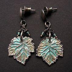 Leaves (Fiann.) Tags: handmade unique oneofakind jewelry jewellery earrings jewelery pmc enamel artclay fiann