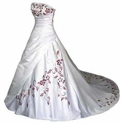A-line strapless satin with embroidery bridal gown