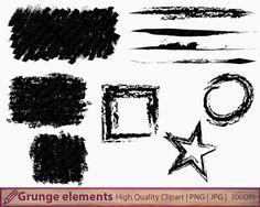 Grunge clipart, distressed design frames clip art, brush strokes, scrapbooking, digital instant download, commercial use, jpg png 300dpi