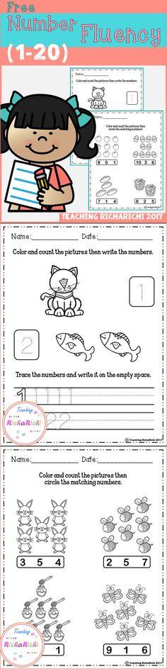 Freebies, Free Number Fluency, Prek, Kindergarten, Free Number Prek, Free Number Kindergarten, Prek activities, kindergarten activities, Homeschool activities.