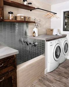 38 Functional And Stylish Laundry Room Design Ideas To Inspire, modern farmhouse laundry room, rustic laundry room, modern farmhouse mudroom with laundry and rustic open shelf laundry room organization, dog bath Home Design, Küchen Design, Interior Design, Design Concepts, Wall Design, Interior Architecture, Modern Design, Max House, Laundry Hanger