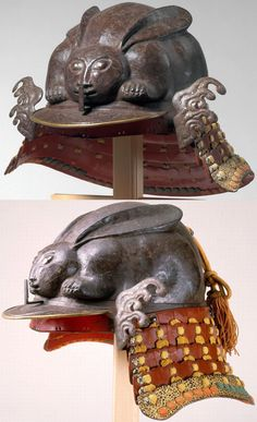 Kawari kabuto in the shape of a crouching rabbit, century, Met Museum. Samurai Helmet, Samurai Weapons, Helmet Armor, Samurai Armor, Arm Armor, Artistic Visions, Japanese Warrior, Japanese Folklore, Ancient Civilizations