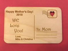 Mother's Day Card Personalized Wooden Postcard Unique Gift for Mom Gift from all of us Keepsake for Mom First Mothers Day Laser Engraved