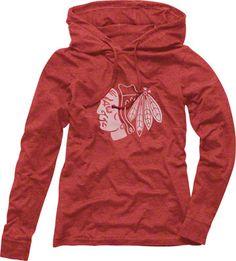 chicago blackhawks womens retreat long sleeve red hooded shirt. fans edge. size- Med