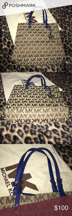 "🎉💥""Michael Kors""Tote Blue Straps 💥🎊 🎊💥""Michael Kors""Snap Pocket Tote with duster. Fairly used, but still in Great Conditions!!! 🎉💥 Michael Kors Bags Totes"