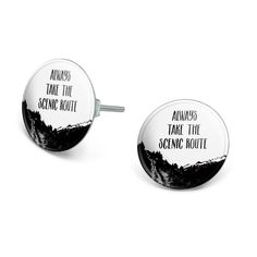 Always Take The Scenic Route Hiking Travel Novelty Silver Plated Stud Earrings