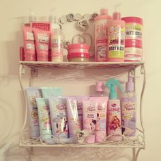 Soap & Glory and Beauty Parlour vintage shabby chic bathroom products.