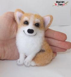 Corgi Welsh Dog Art Pembroke Miniature Handmade brooch needle felted eco wool