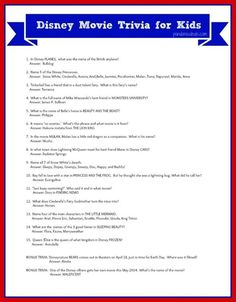 to Throw A Disney Movies Party - See Mom Click Disney Movies Trivia for Kids free printable. Perfect for a kids' party!Disney Movies Trivia for Kids free printable. Perfect for a kids' party! Disney Party Games, Disney Movie Trivia, Disney Activities, Disney Movies, Disney Games For Kids, Party Activities, Disney Cartoons, Disney Trivia Questions, Trivia Questions And Answers