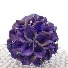 Royal Purple Wedding Bouquet  Three Dozen Real Touch by CallaCandy