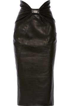 Bow detail black leather curve-hugging midi skirt by BALMAIN.