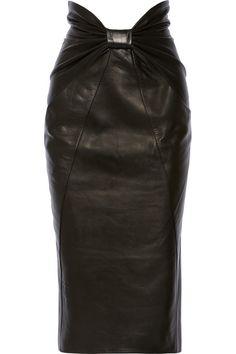 Bow detail black leather curve-hugging midi skirt by BALMAIN.
