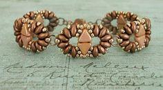 Linda's Crafty Inspirations: Duo Kheops Bracelet & Wave of Love Earrings - Copper & Rose