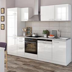 Küchenzeile Küchenblock weiss rot hochglanz/ Stone dark mit ...