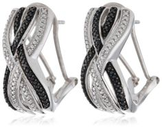 Sterling Silver White and Black Diamond Crossover Omega Back Earringsby Amazon Collection - See more at: http://blackdiamondgemstone.com/jewelry/earrings/hoop/sterling-silver-white-and-black-diamond-crossover-omega-back-earrings-com/#sthash.XK692TPK.dpuf