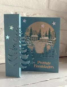 """Best 12 wood stamp """"Christmas Winter Village Town"""" colored with white Derw . Christmas Cards 2017, Homemade Christmas Cards, Xmas Cards, Homemade Cards, Handmade Christmas, Fancy Fold Cards, Folded Cards, 3d Cards, Winter Cards"""