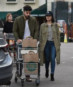 Twinning! Lucy Hale and her musician boyfriend Anthony Kalabretta donned matching olive jackets to grocery shop at a Whole Foods in Los Angeles on Sunday