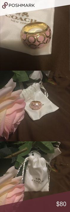 Authentic Coach Ring Pink and Gold with Coach logo C COACH Jewelry Rings