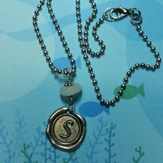 Sea Glass Necklace – Initial S