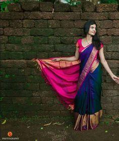 Pure tussar silk saree with best price Silk Saree Kanchipuram, Organza Saree, Uppada Pattu Sarees, Drape Sarees, Ikkat Saree, Half Saree Designs, Silk Saree Blouse Designs, Designer Saree Blouses, Engagement Saree