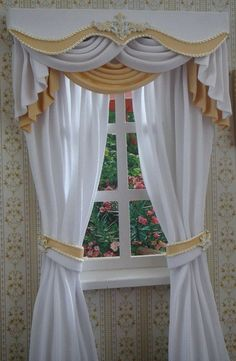 Miniature 112 Dollhouse curtains on order by TanyaShevtsova, $45.00