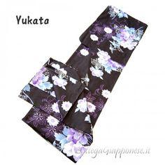 Yukata nero abito giapponese Haruko YUKATA abito lungo tradizionale  giapponese da donna. Lo yukata viene aa8bae4f521