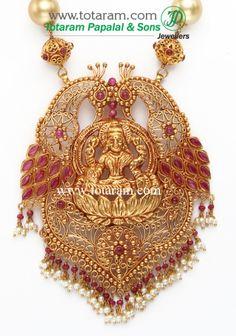 22K Gold 'LAKSHMI' Long Necklace & Drop Earrings Set with South Sea Pearls (Temple Jewellery): Totaram Jewelers: Buy Indian Gold jewelry & 18K Diamond jewelry